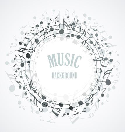 nota musical: Decoración de las notas musicales en la forma de un círculo Vectores