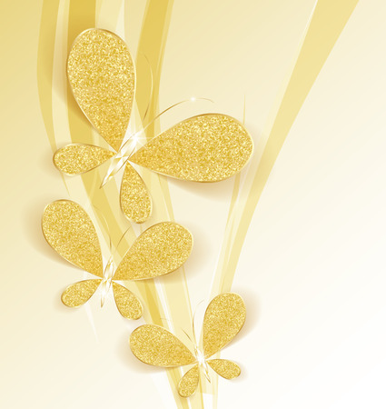 Modern background with gold butterflies as a jewel Vector