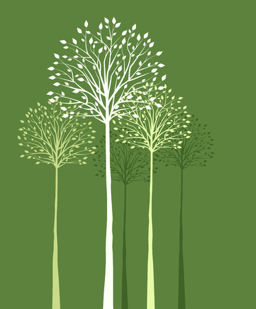 Green background with trees and leaves Illustration