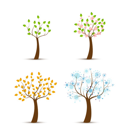 cartoon calendar: Four seasons with the growing tree Illustration