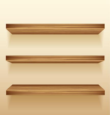 Empty wood shelves on wall