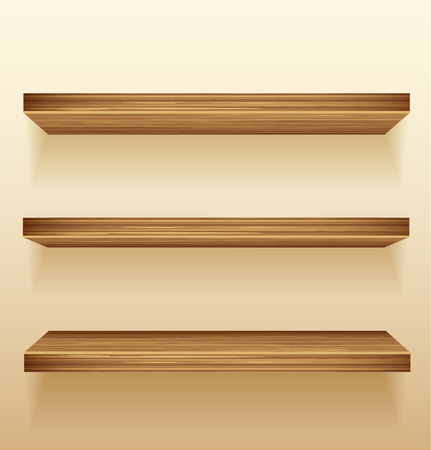 Empty wood shelves on wall