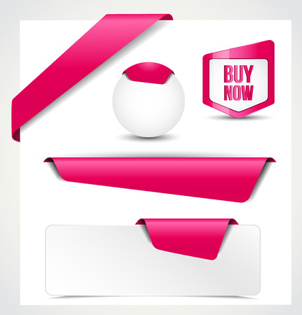 Set of pink ribbons, banners, bookmarks for your site Vector