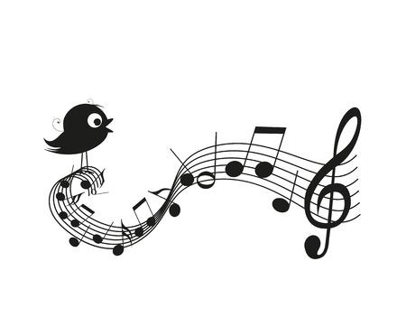 ruise�or: Cantando la silueta de p�jaro con notas musicales Vectores
