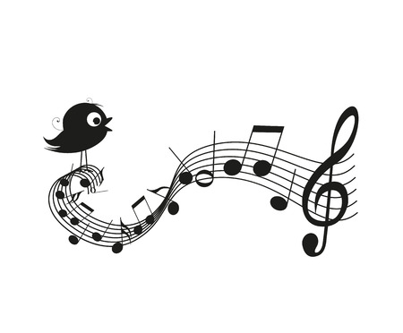 Singing bird silhouette with music notes Vectores