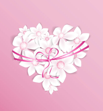 Decoration heart of flowers on a pink background Vector