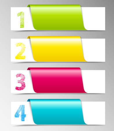 design template with numbered banners Vector