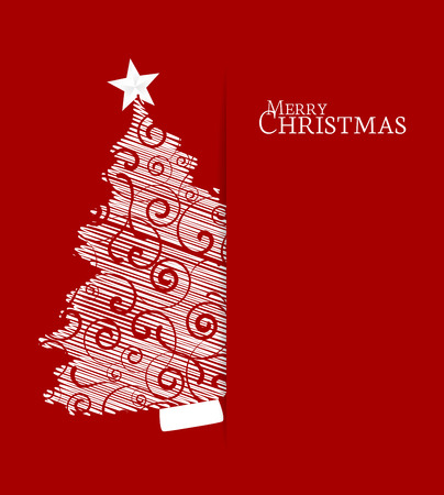 Christmas tree on a red background Vector