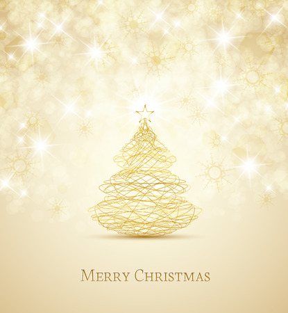 gold design: Merry Christmas card, Christmas tree and snowflakes Illustration