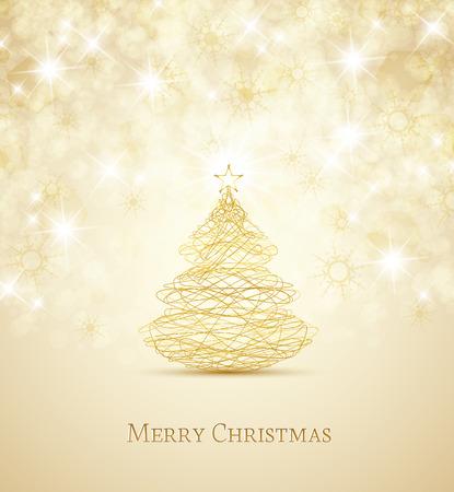 Merry Christmas card, Christmas tree and snowflakes Illustration