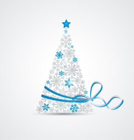 리본 눈송이에서 만든 크리스마스 트리 일러스트