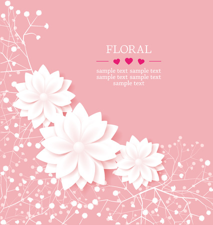 White flowers on pink background Vector