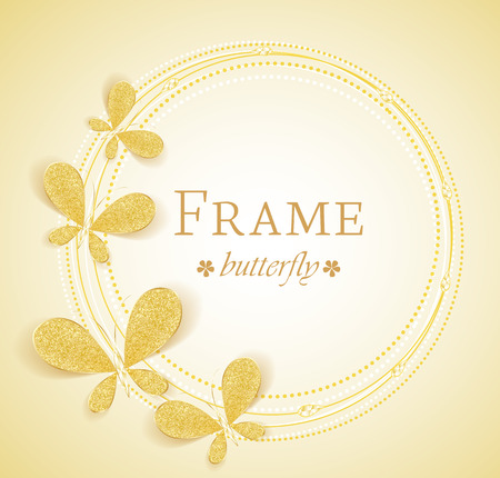 Butterfly gold jewelry frame with space for text Vector