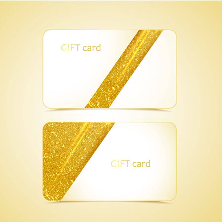 Golden gift cards with space for text Vector