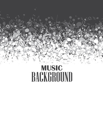 shiny black: Abstract music background with notes Illustration