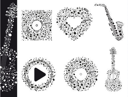 Muzieknoten in verschillende variaties, gitaar, saxofoon, spelen, hart Stock Illustratie
