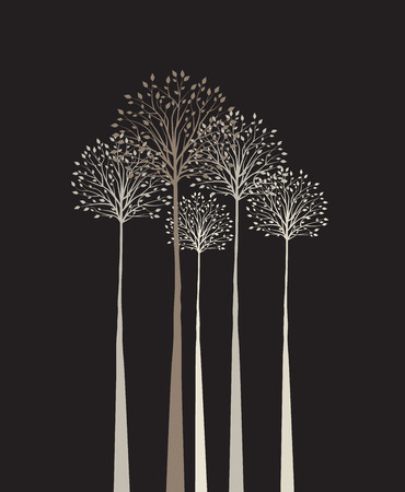 Group of trees on a dark background Banco de Imagens - 28919109