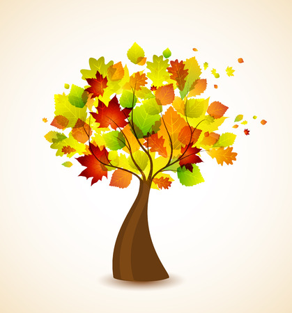 Vector silhouette of a autumn tree