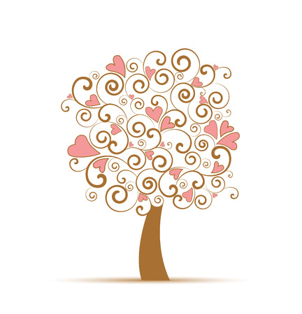 Vector silhouette of a decorative tree with hearts Vector