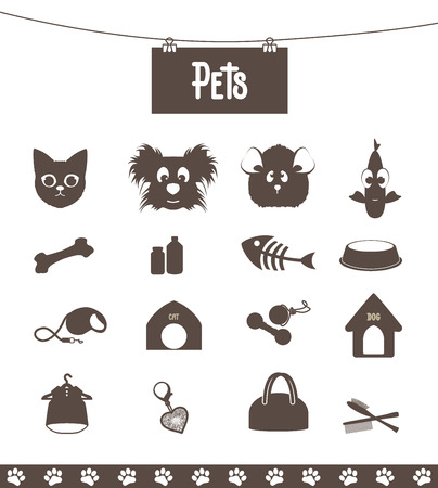 set of icons pets for web and pet shop Vector