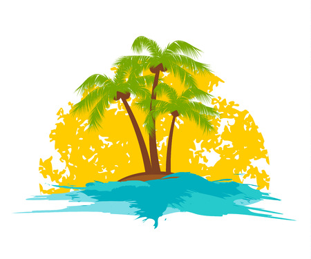 island with a palm tree in the sun Ilustracja