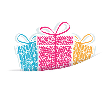 Holiday gifts on a white background Ilustração
