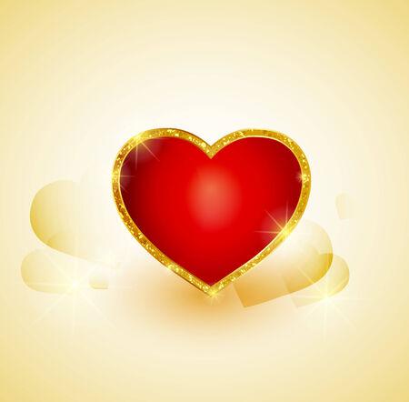 gold heart: vector background heart of gold Illustration