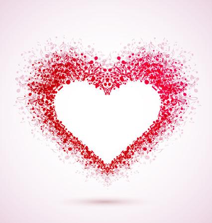 음표로 만든 심장 일러스트