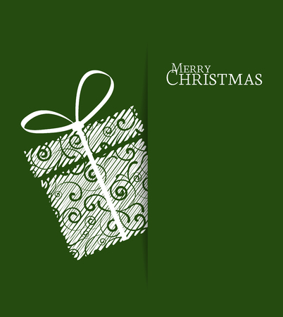 Green background with Christmas gift Vectores