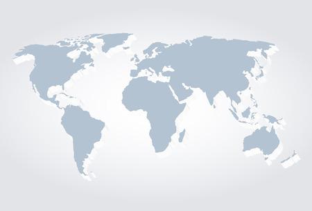World Map 3d, vector illustration
