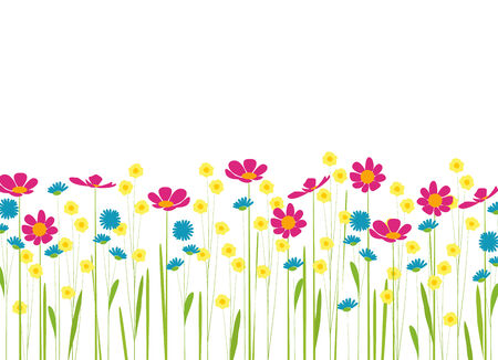 meadow with colorful flowers cartoon Vector