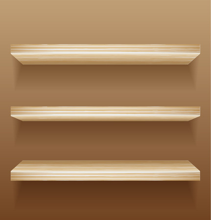 bookcases: Empty wood shelves on wall