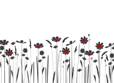 silhouette of meadow flowers on a white background Vectores