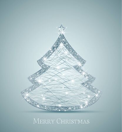 Christmas background with a silver Christmas tree