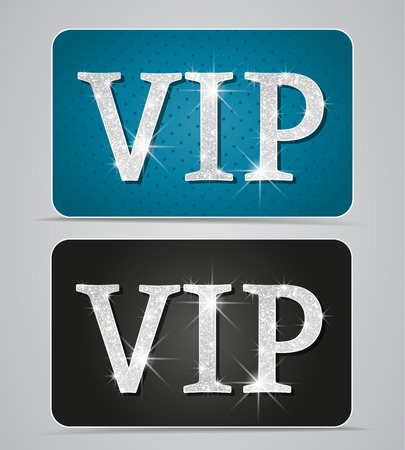 Silver two cards with text vip Vector