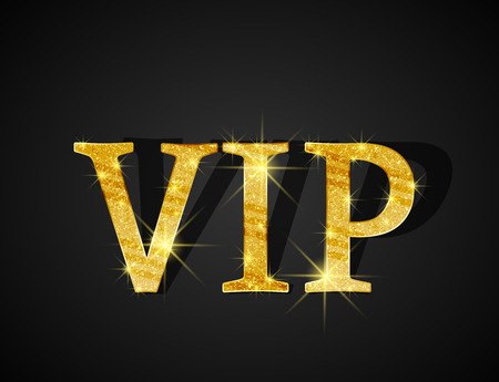 approval icon: Black background of golden text VIP