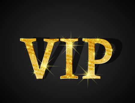 Fond noir de texte d'or VIP Vecteurs