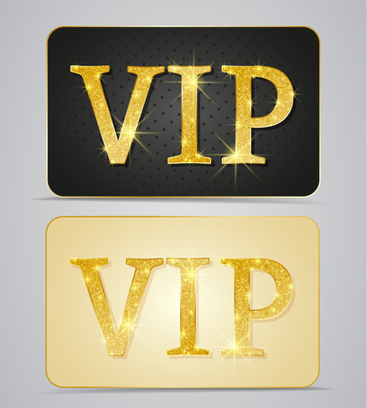 Gold two cards with text vip Vector