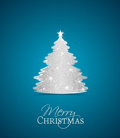 Blue background with a silver Christmas tree Stock Illustratie