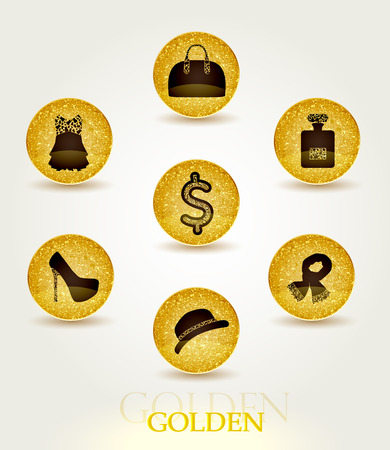 Icons with elegant fashion accessories for women Vector