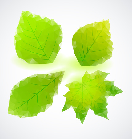 green leaves of triangles, geometric shapes Vector