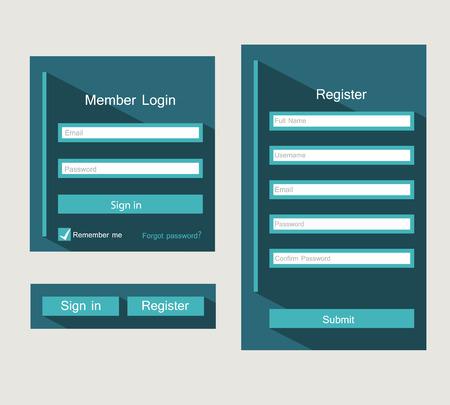 ui design: Registration and login form, flat UI design