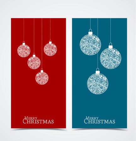 balls decorated: Two Christmas banners with decorated Christmas balls