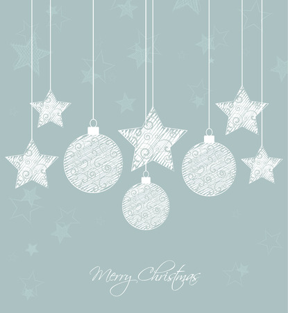 Vector  background with decorated Christmas balls and stars Vector