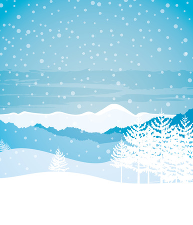 winter scene: Vector illustration Winter landscape with mountains and trees