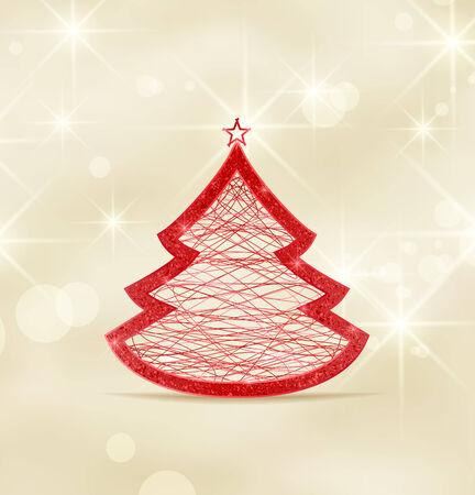 Arbre de Noël rouge sur un fond brun clair Vecteurs