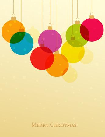 Vector retro Christmas background with Christmas balls