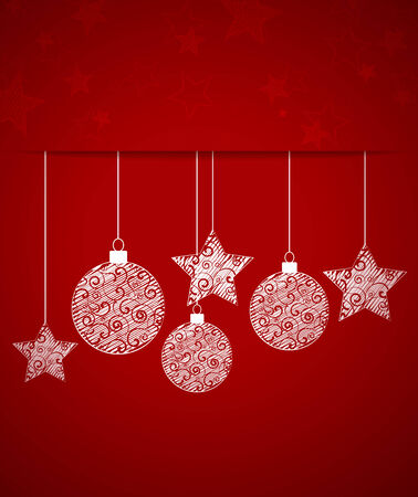 Vector Christmas balls on a red background Vector