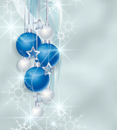 Vector snowy background and blue Christmas ball