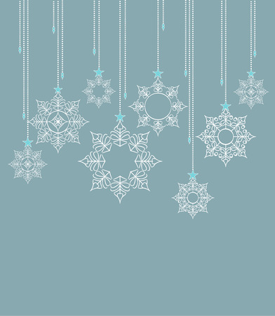 winter background with beautiful various snowflakes Illustration